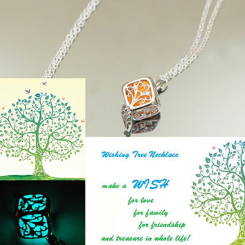 wishing tree necklace, glow in the dark after UV absorption necklace, noctilucent necklace, mom gift, friendship gifts, unique lovers gifts