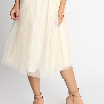 Candy Tulle Skirt In Cream | Ruche