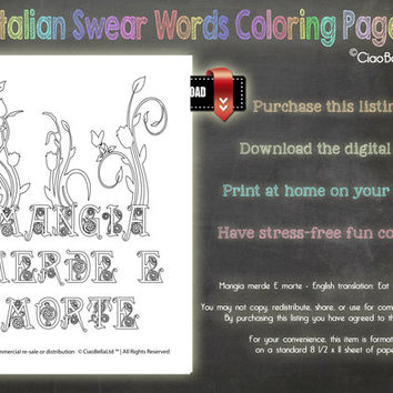 Italian Swear Words Coloring Page - Mangia merde E morte