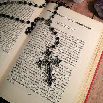 Gothic rosary necklace // gothic cross necklace // ornate cross necklace// gothic necklace