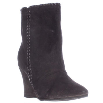 Charles Charles David Naya Pull On Wedge Mid Calf Boots - Black Suede