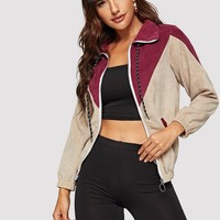 Zip Up Color-block Corduroy Jacket