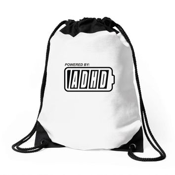 powered by adhd Drawstring Bags