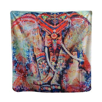 Floral Elephant Bohemian Paisley Blue Soft Polyester India Tapestry Wall Hanging Carpet Table Clothes 148x130cm/148x210cm