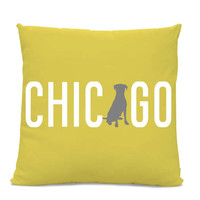 Chicago Labrador Pillow - Chicago Home Decor - Lab pillow - dog breed silhouette pillow - dog home decor - Dog Pillow - Yellow Pillow