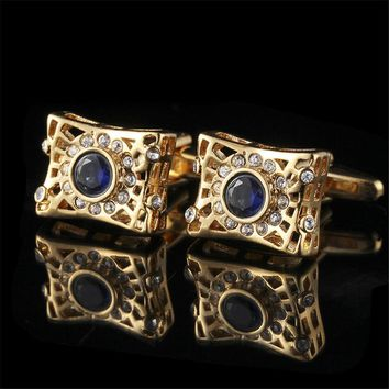Brand Glossy Exquisite Button Cufflinks Copper Metal Business Cuff Links for Shirts High Quality Crystal Design Cufflinks