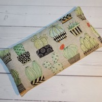 Aromatherapy Eye Pillow - Flax Seed & Lavender -  Succulents cactus - yoga