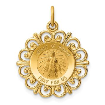 14k Gold Infant of Prague Medal Charm