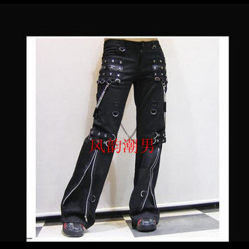 long trousers tide punk gothic horn pants men's non-mainstream casual rivet gas hole singer stage costumes clothing