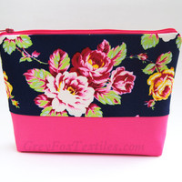 #Navy #blue #floral #cosmetic case, #makeup bag, with #hot #pink, yellow, and green