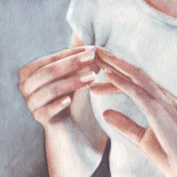 HM090 Original art watercolor painting Hands by Helga McLeod
