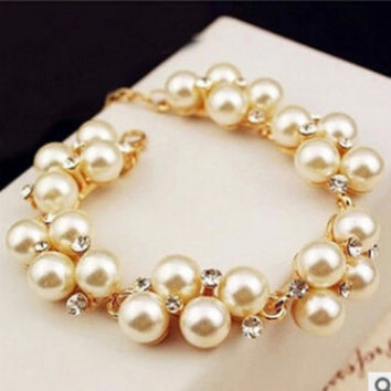 New Arrival Hot Sale Gift Shiny Great Deal Awesome Vintage Stylish Accessory Gold Rhinestone Pearls Bracelet [6573091079]