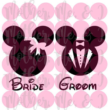 Bride and Groom Mickey and Minnie Mouse / Disney SVG DXF PNG Cut File Instant Download Cricut and Silhouette Design for Shirts, Scrapbooks