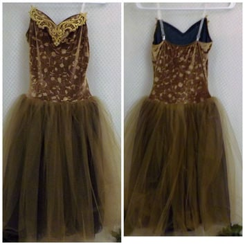 Vintage Girls Teens Wolff Fording Gold Dance Costume  Size M