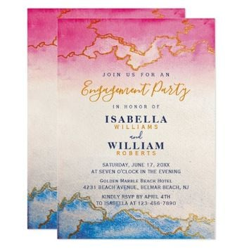 Modern Golden Marble Engagement Party Invitation
