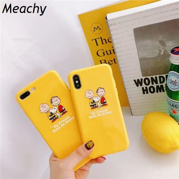Meachy Ins hothot Japan Cartoon Peanuts Friends Little Boy Child Potato Kawaii Cute Case For iPhone X 7 6 6s 8 Plus Phone Case