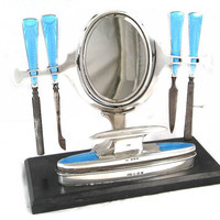 Art Deco Manicure Set Solid Silver Blue Guilloche Enamel 8 pc 1930s Sterling Dresser Set Nail Tools Cheval Mirror