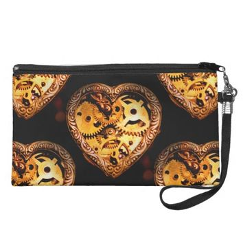 steampunk heart wristlet bag purse