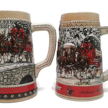 Pair of Stein Budweiser Ceramarte Beer Mugs Anheuser Busch King Of Beers Cup Coblestone Passage New German Beer Handpainted