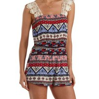Navy Combo Crochet Strap Mixed Print Romper by Charlotte Russe