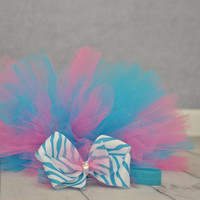 Pink and blue tutu with rhinestones- Baby toddler child tutu- Tutu