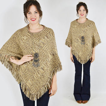 vtg 90s 70s boho hippie brown SPACE DYE cable knit sweater PONCHO shawl cape top S M L