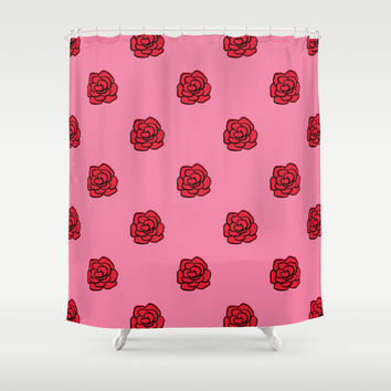 Painted Valentine's Day Red Roses Shower Curtain by Kat Mun