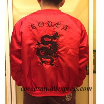 PLUS SIZE XXL Embroidery Dragon Harajuku Japan Gothic Darkness Satin Kitten Silky Down Jackets Bomber Baseball Flight Silk Coat