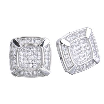 Jewelry Kay style Men's Iced Out 14k G/S Plated Pave Double Square Screw Back Earrings SHS 485