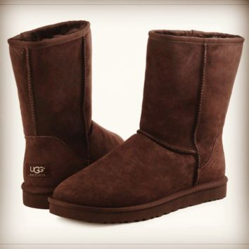 """UGG"" Women Fashion Wool Snow Boots Calfskin Shoes simple Coffee"