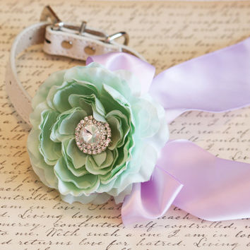 Mint and Lavender Floral Dog Collar,Mint Wedding Accessory, Pet Wedding Accessory, 2014 Wedding Color, Spring wedding