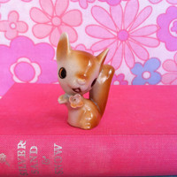 Vintage squirrel figurine!! Cute, kitsch, retro squirrel ornament with kitschy, pink flower! Meet Little Pinky Nutkin...