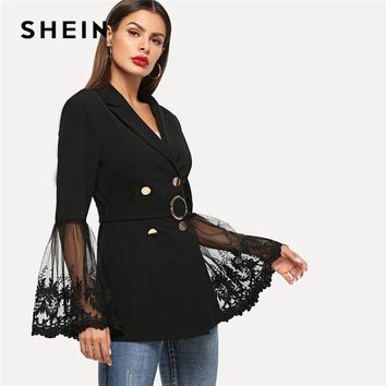 SHEIN Black Office Lady Elegant Embroidered Mesh Insert Bell Sleeve Belted Blazer 2018 Autumn Highstreet Women Coat Outerwear