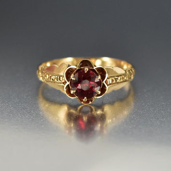 Antique Gold Victorian Garnet Engagement Ring