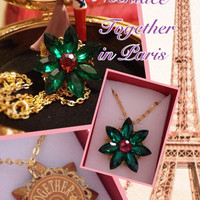Anastasia Necklace Together In Paris Replica Crystal Gems Flower Emerald Romanov Replica Handmade