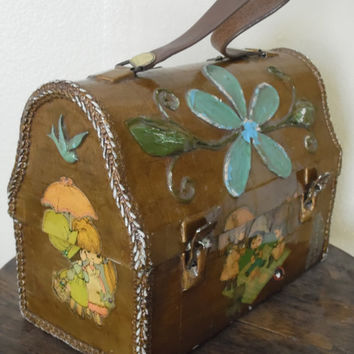 FREE SHIPPING - Purse/Vintage Hand Bag/Vintage Lunch Box/Flower Power Purse/Kitsch Purse