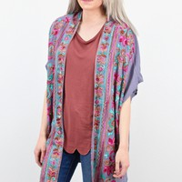Brightly Embroidered Kimono {Cool Grey}