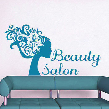 Beauty Salon Wall Decal Hair Salon Fashion Girl Woman Haircut Vinyl Decals LM51