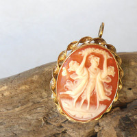 Van Dell vintage cameo brooch pendant, 12k gold filled shell cameo, 3 graces gold pin