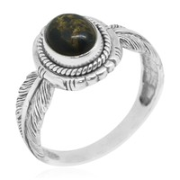Bali Handcrafted Black Turquoise Sterling Silver Leaf Engraved Solitaire Ring TGW 1.84 cts