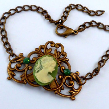 Nostalgic bracelet with brass ornament and Cameo, Antique Bracelets, squiggly bracelet, vintage jewelry, gift for her, green