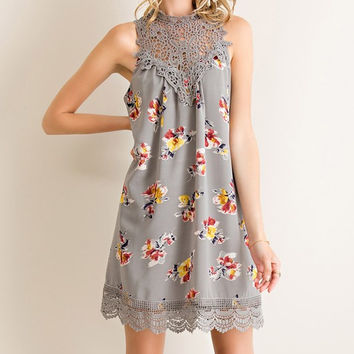 Martinis and Moonlight Lace Sleeveless Dress - Floral Gray