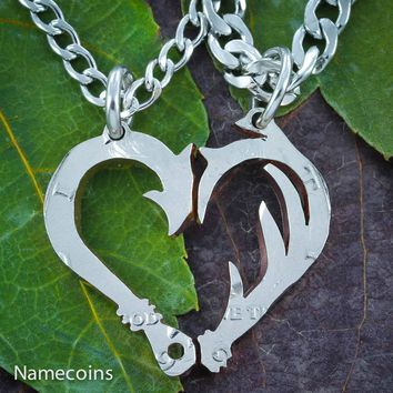 Fish Hook and Antler Necklace set for couples making a heart, Hand cut half dollar by Namecoins