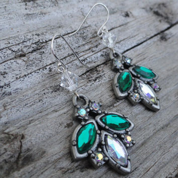 Green and Clear Crystal Beetle Pendant Earrings