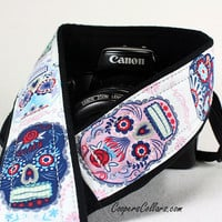 Dia de los Muertos Camera Strap, Sugar Skulls, Day of the Dead,  dSLR or SLR, 112 cw