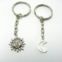 Sun And Moon Keychain Set Best Friends Keychain Set Sun and Moon Couples Keychains Like Day and Night Keychains Mother Daughter Keychain set