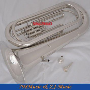 Professional Silver Plated Bb Tuba Horn Monel Valves With 2 Mouthpiece Case New
