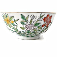 Oriental Porcelain Decorative Bowl Floral Lily and Gold Gilt Hong Kong