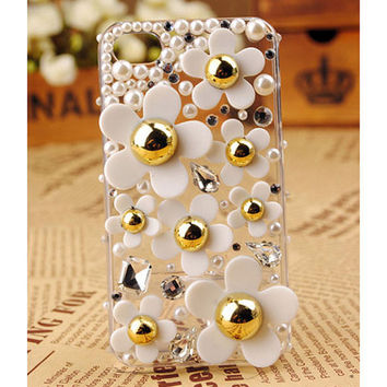 FREE SHIPPING Apple iPhone 4S 4 Pearl Flower Clear Transparent Protective Back Case Cover Skin