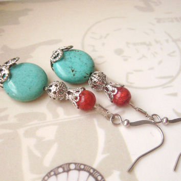 Vintage Inspired Jewelry,  Boho jewelry, Turquoise Earrings, Coral Earrings, Dainty Dangles, Vintage Beads, Vintage Style